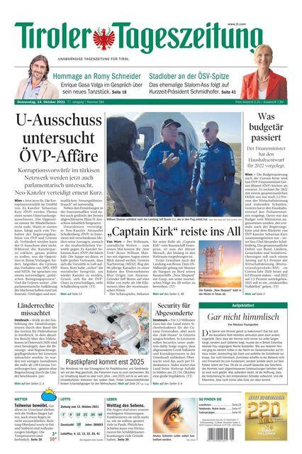 Tiroler Tageszeitung - Ausgabe Innsbruck 2021-10-14